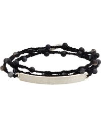 Feathered Soul - Black Agate Bead & Silk Bracelet With Hammered Silver Id Plat for Men - Lyst
