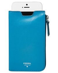 Fossil Blue Sydney Leather Phone Sleeve Wallet