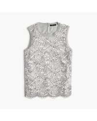 J.Crew | Gray Lace Panel Top | Lyst