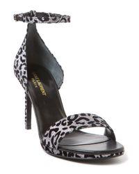 Saint Laurent - Gray Jane Leopard Sandals - Lyst
