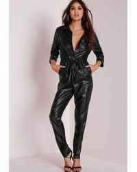 Missguided - Faux Leather Utility Jumpsuit Black - Lyst