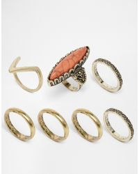 ASOS | Metallic Large Stone Festival Ring Pack | Lyst