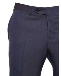 Canali Blue 19,5Cm Iridescent Wool Flannel Trousers for men