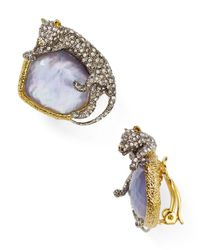 Alexis Bittar - Multicolor Elements Crystal Encrusted Panther Clip On Earrings - Lyst