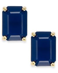 kate spade new york - Blue Crystal Emerald-Cut Stud Earrings - Lyst