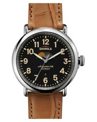 Shinola Metallic 'the Runwell' Moon Phase Leather Strap Watch for men