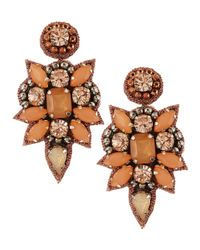 Deepa Gurnani - Green Crystal Cluster Drop Earrings Peach - Lyst