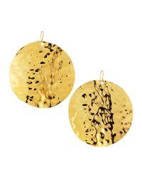Devon Leigh | Metallic Hammered 18k Gold Plate Medallion Earrings | Lyst