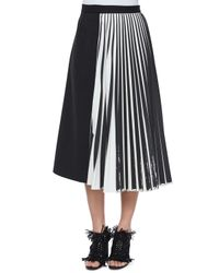 Proenza Schouler Black Half Knife-pleated Midi Skirt
