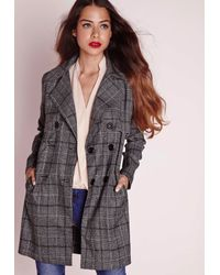 Missguided - Gray Checked Trench Jacket Grey - Lyst