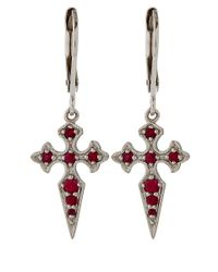 Stone White Gold And Ruby Blood Diamond Earrings