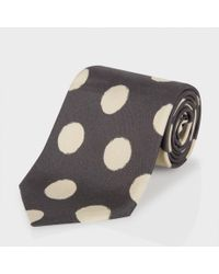 Paul Smith Gray Elephant Grey Painted Polka Dot Classic Silk Tie for men
