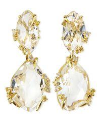 Alexis Bittar Fine Clear Quartz  Light Yellow Sapphire Earrings
