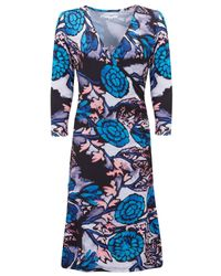 Almost Famous | Blue Oriental Floral Wrap Dress | Lyst