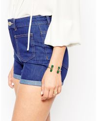 ASOS | Green Open Cuff Bracelet With Faux Semi Precious Cylinders | Lyst