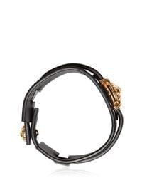 Versus - Black Lion Head Leather Cuff Bracelet for Men - Lyst