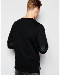 Jack & Jones | Black Sweatshirt With Faux Leather Panel for Men | Lyst