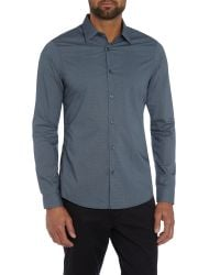 Michael Kors | Blue Pattern Slim Fit Long Sleeve Button Down Shirt for Men | Lyst