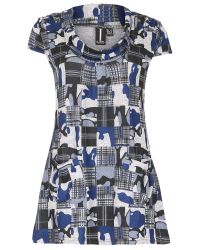Izabel London Blue Long Line Tunic With Checked Print