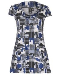 Izabel London | Blue Long Line Tunic With Checked Print | Lyst