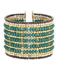 Nakamol - Green Crystal-Beaded Wire Cuff Bracelet - Lyst
