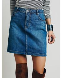 Free People | Blue Jackson Denim Skirt | Lyst
