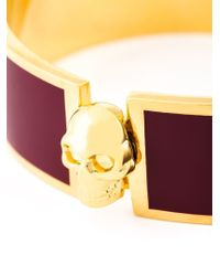 Alexander McQueen Red Enamel Skull Bracelet