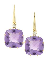 Roberto Coin | Purple 18k Gold Ipanema Diamond Square Amethyst Earrings | Lyst