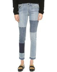 Free People | Blue Patched & Relaxed Skinny Jeans | Lyst