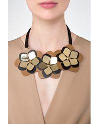 Fendi - Orange Leather Flower Necklace - Lyst