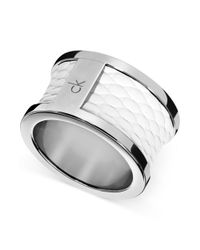 Calvin Klein - Metallic Ck Polished Stainless Steel White Leather Barrel Ring - Lyst