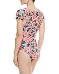 Beach Riot - Multicolor The Palmeraie Floral-print Cutout Swimsuit - Lyst