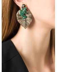 Roberto Cavalli Metallic Frog And Leaf Earrings
