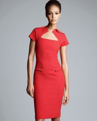 Roland Mouret Myrtha Folded Sheath Dress Red