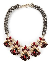 Anton Heunis | Red Oval Crystal Cluster Bib Necklace | Lyst