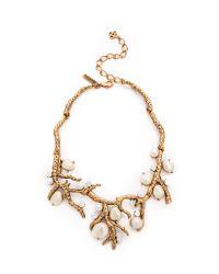 Oscar de la Renta Metallic Coral Necklace