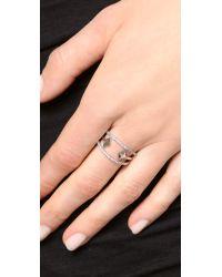 Noir Jewelry Black Chelsea Ring - Rhodium/Clear