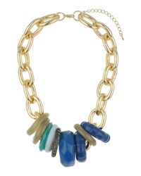 Mikey Blue Multi Rings Metal Necklace