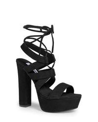 Steve Madden | Black 'Justinaa' Platform Sandal | Lyst