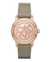 DKNY - Metallic 'tompkins' Logo Dial Leather Strap Watch - Lyst