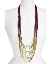 Tasha | Metallic Beaded Multi-cord Long Necklace - Burgundy/ Gold | Lyst