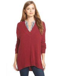 Halogen Blue Surplice V-neck Cashmere Sweater