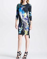 Just Cavalli Black Printed Stretch-jersey Mini Dress