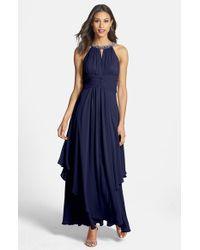 Eliza J | Blue Bead-Embellished Halterneck Chiffon Gown | Lyst