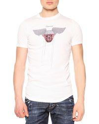 DSquared² White Skull & Helmet-print Graphic Tee for men