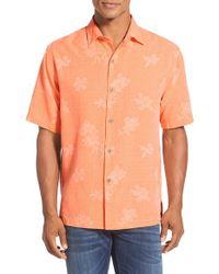 Tommy Bahama - Orange 'aloha Floral' Original Fit Silk Camp Shirt for Men - Lyst