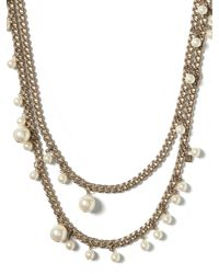 Banana Republic | Metallic Pearl Chain Layer Necklace | Lyst