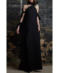 Rosie Assoulin Black Cotton Crepe Bunny Frou Frou Dress