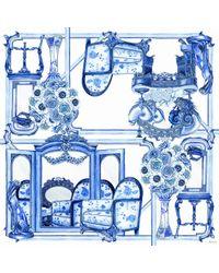 Swash London - Blue Porcelain Chiffon Scarf - Lyst