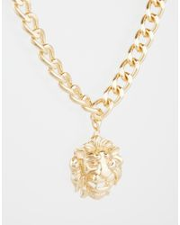 ASOS - Metallic Heavy Chain Necklace With Lion for Men - Lyst
